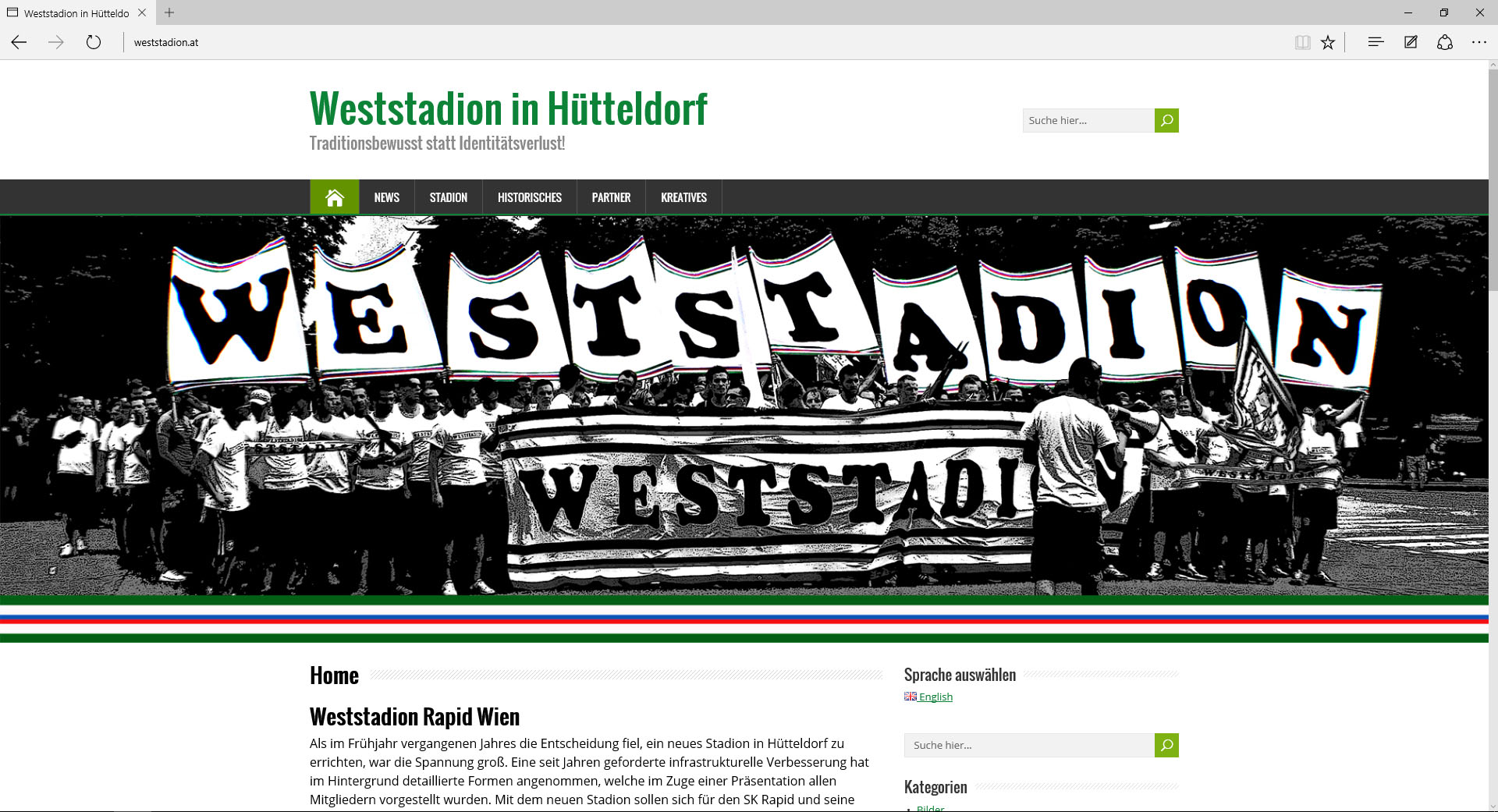 Weststadion-Website