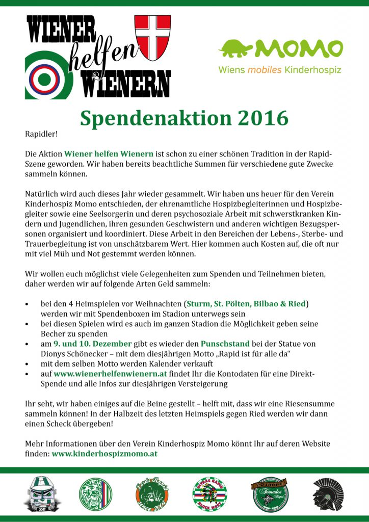 Wiener helfen Wienern Spendenaktion 2016